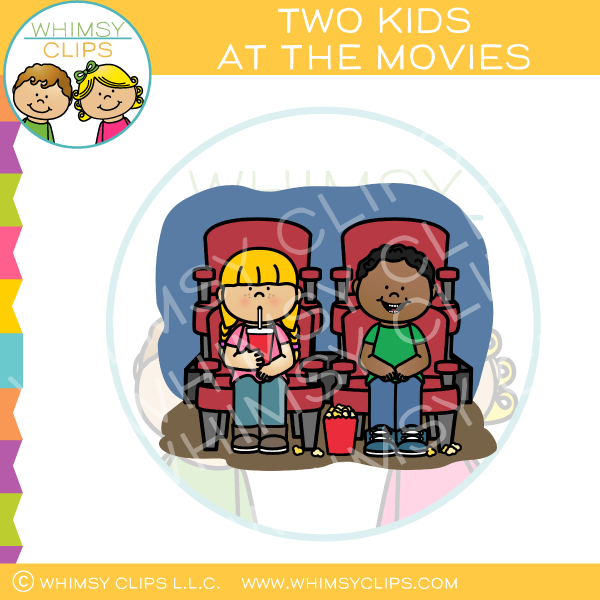 Two Kids At The Movies Clip Art