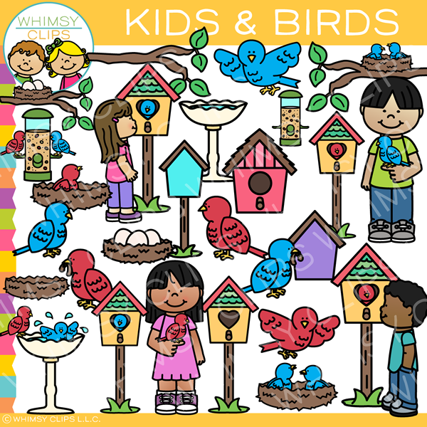 Kids and Birds Clip Art