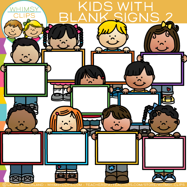 Kids with Blank Signs Clip Art - Set Two