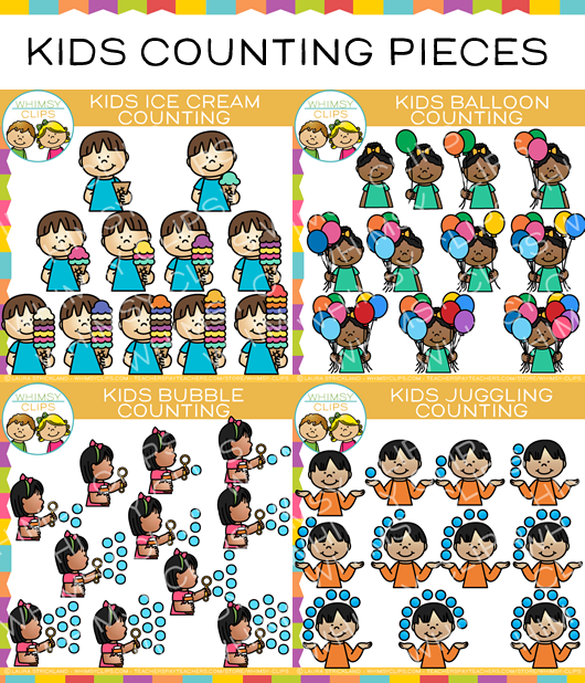Kids Counting Pieces Clip Art