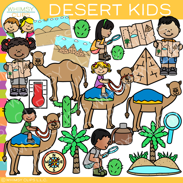 Kids in the Desert Clip Art
