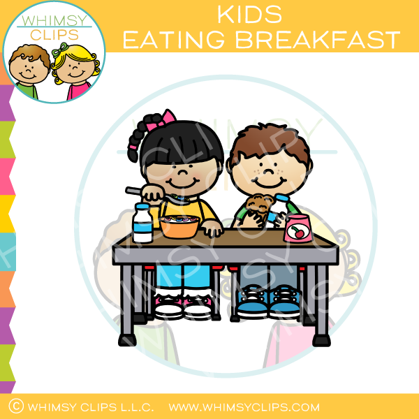 Kids Eating Breakfast Clip Art