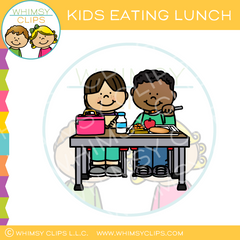 Kids Eating Lunch Clip Art
