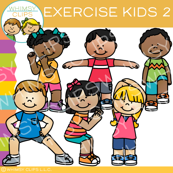 Exercise Kids Clip Art Set Two Images Illustrations Whimsy Clips