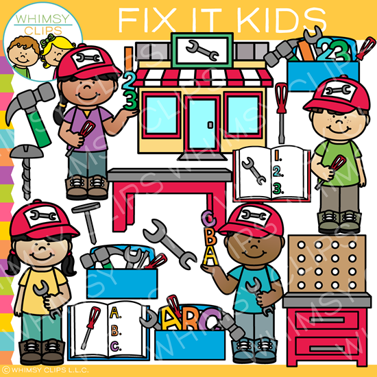 Fix It Kids Repair Shop Clip Art
