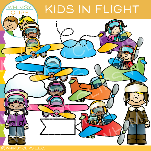 Kids in Flight Clip Art