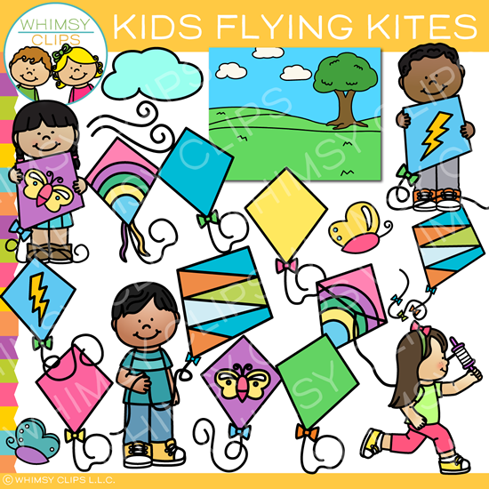 Spring Kids Flying Kites Clip Art