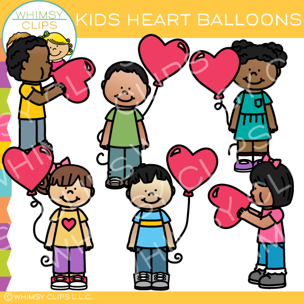 Free Kids With Heart Balloons Clip Art