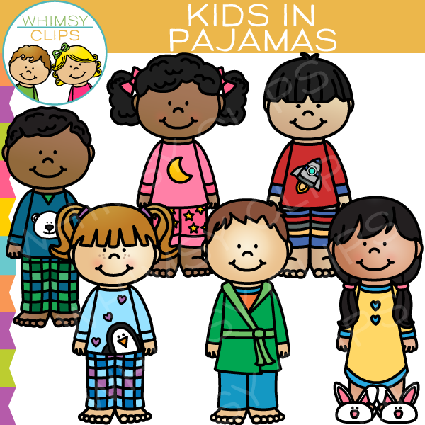 Kids in Pajamas Clip Art