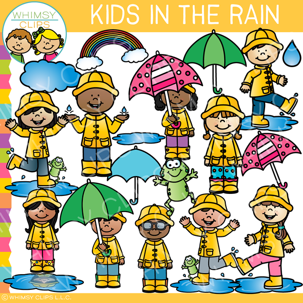 Kids Playing in the Rain Clip Art