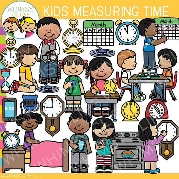 Kids Measuring Time Clip Art