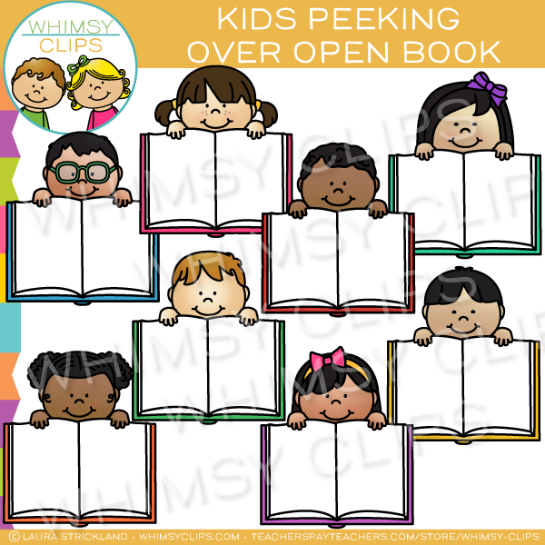 Kids Peeking Over Open Books Clip Art