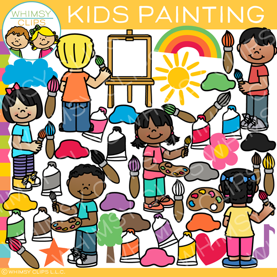 Crafty Painting Kids Clip Art