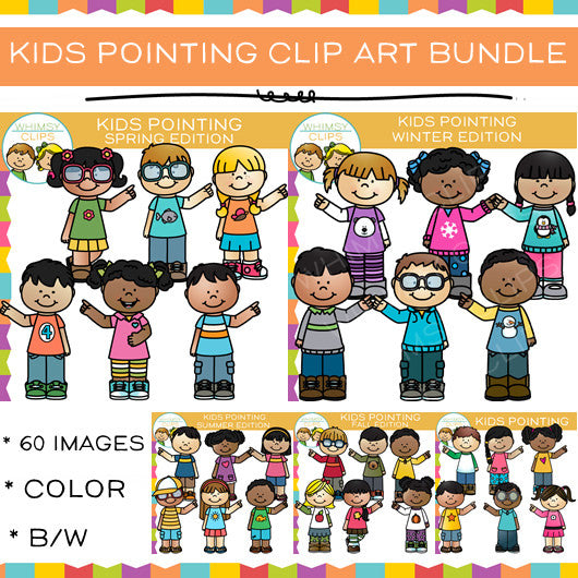 Kids Pointing Clip Art - Mega Bundle