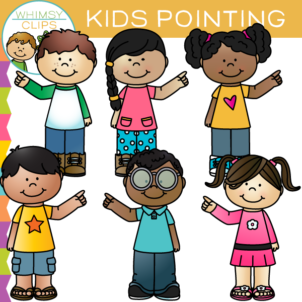 Kids Pointing Clip Art