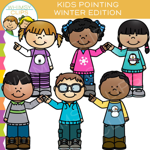 Winter Kids Pointing Clip Art