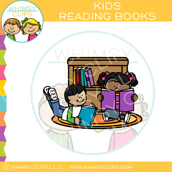 Kids Reading Books On The Floor Clip Art