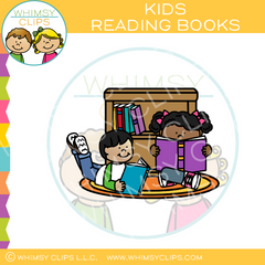 Kids Reading Books Clip Art