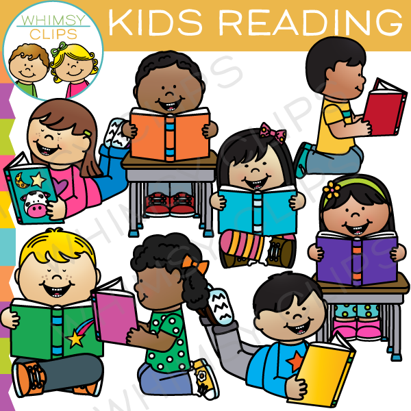 Kids Reading Clip Art