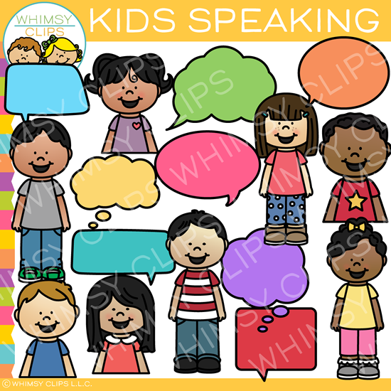 Kids Speaking Clip Art