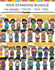 Kids Standing Clip Art Bundle