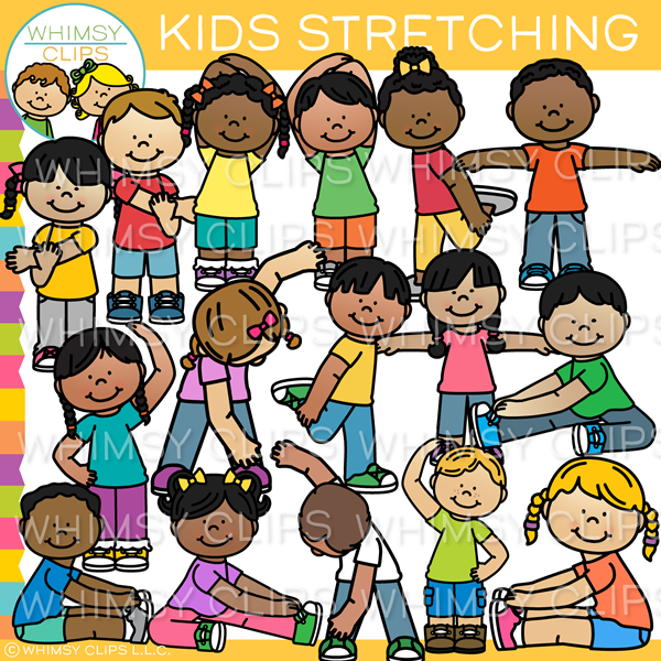 Kids Stretching Clip Art