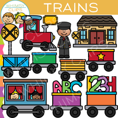 Kids Train Ride Clip Art