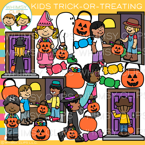 Kids Trick-or-Treating Clip Art