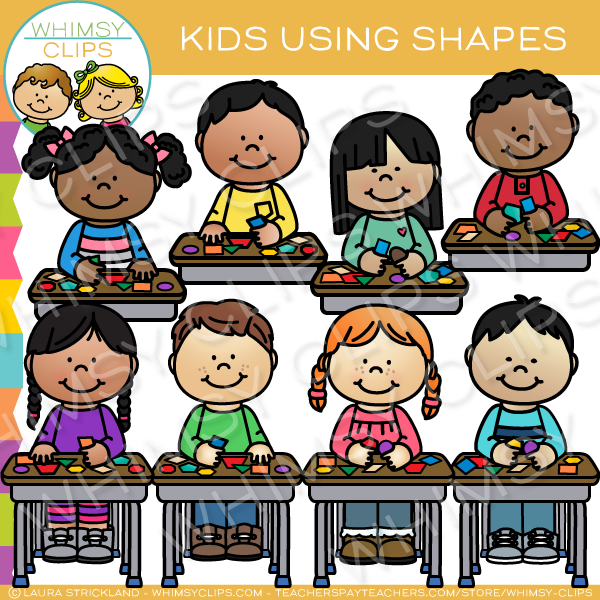 Kids Using Shapes Clip Art