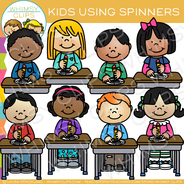 Kids Learn Using Spinners Clip Art