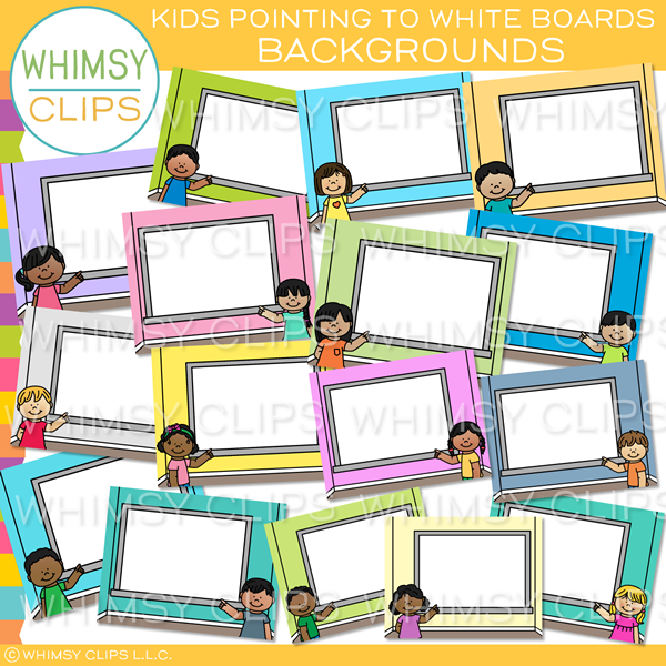 Kids Pointing to White Boards Backgrounds