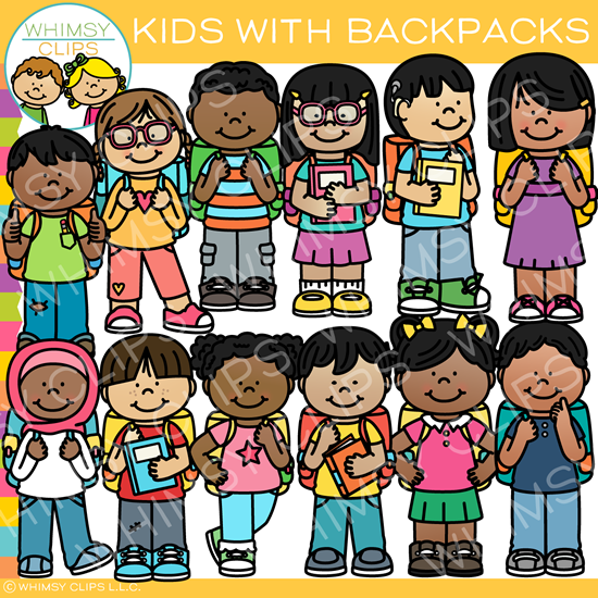 Kids with Backpacks Clip Art