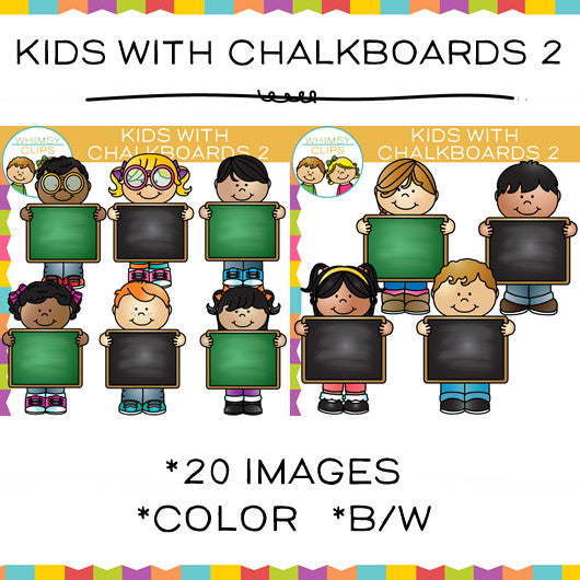 Kids with Chalkboards Clip Art - Set Two