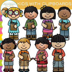 Kids with Clipboards Clip Art