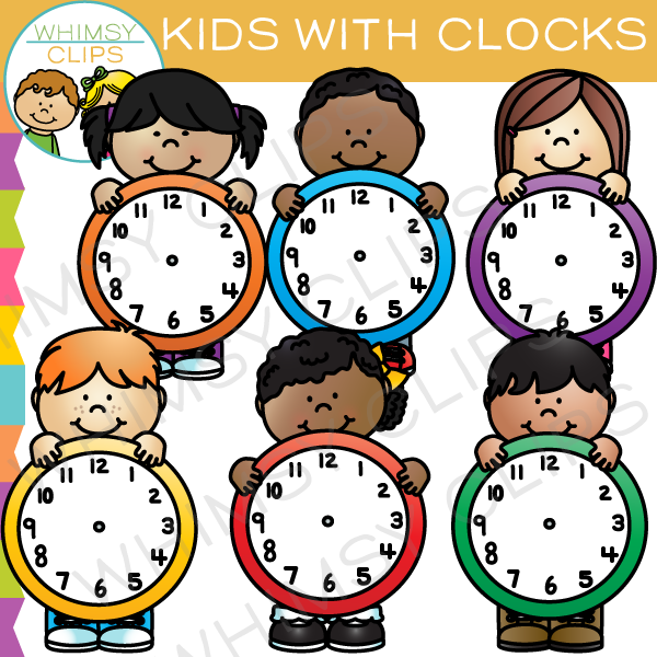 Kids with Clocks Clip Art , Images & Illustrations ...