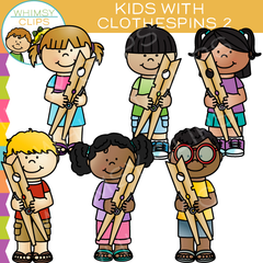 Kids with Clothespins Clip Art