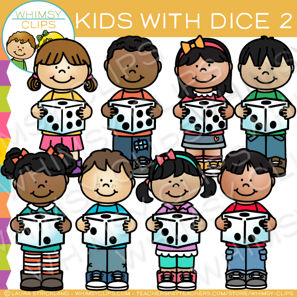 Kids with Dice Clip Art - Set Two