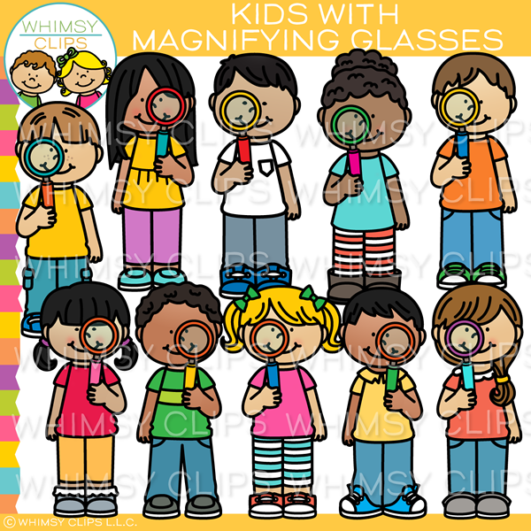 Kids with Magnifying Glasses Clip Art
