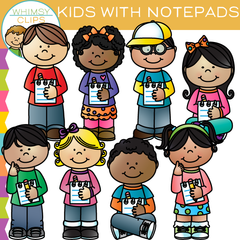 Kids with Notepads Clip Art