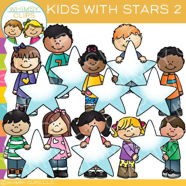 Kids with Stars 2 Clip Art