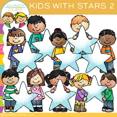 Kids with Stars Two Clip Art