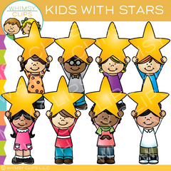 Kids and Stars Clip Art