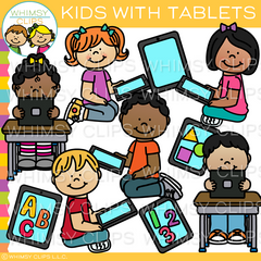 Kids with Tablets Clip Art