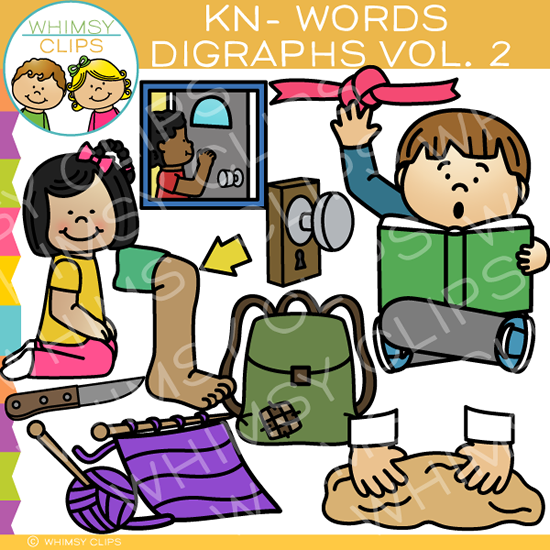 Beginning Kn-Words  Clip Art - Digraphs Volume Two