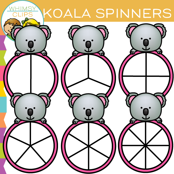 Cute Koala Spinners Clip Art
