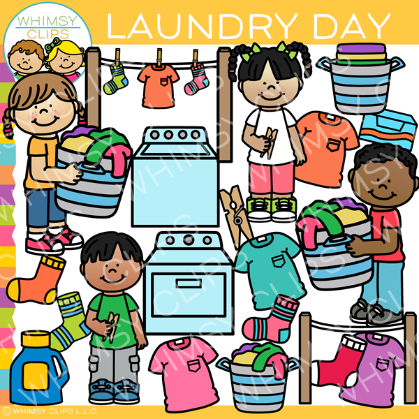 Kids Laundry Time Clip Art