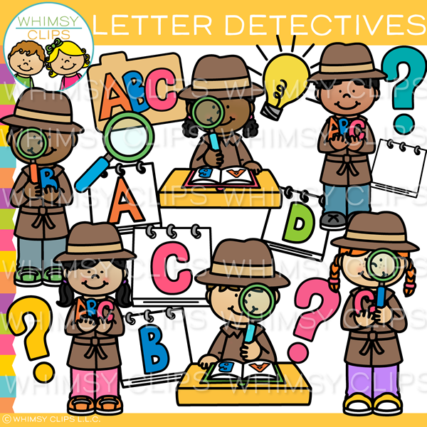 Kids Letter Detectives Clip Art