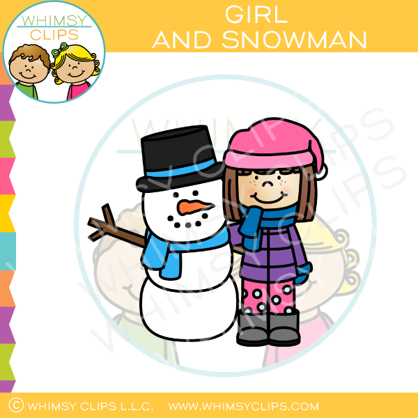 Little Girl And Snowman Clip Art