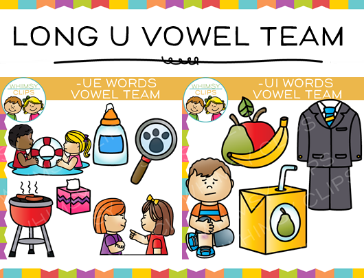 Vowel Team Long U Clip art Bundle