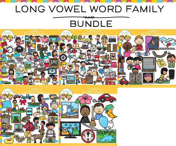 Long Vowel Word Family Clip Art Bundle